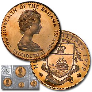 1971-1972 Bahamas 4-Coin Gold Proof Set